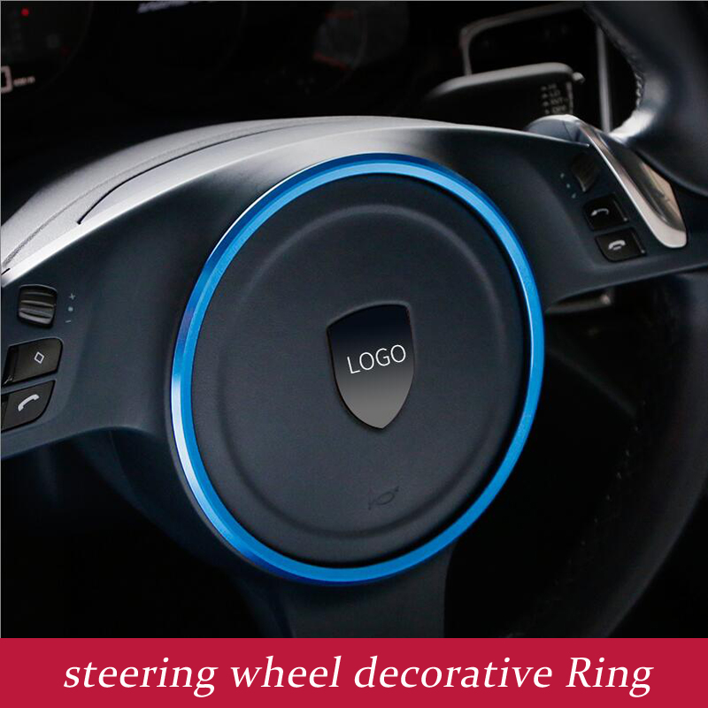Aluminium alloy Steering Wheel sequins Cover Trim Car 3D Styling for Porsche Panamera Cayenne macan Interior Decoration Ring window closer for porsche cayenne panamera macan auto power car window roll up rearview mirror and remote open trunk