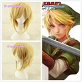 Free Shipping (The Legend of Zelda) Linke Link Golden Yellow Cosplay Anime Wig+free wig cap