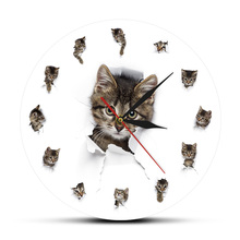 Śliczne niegrzeczny kot zegar zwierząt bałagan wzór projekt pet właściciel kota wnętrza wiszące zegar pokój sztuki zegarek dekoracyjny tanie tanio The Geeky Days Akrylowe Salon 30cm Pojedyncze twarzy Oddziela 30mm Nowoczesne 450g QUARTZ CZ-0102 Streszczenie Igła Antique style