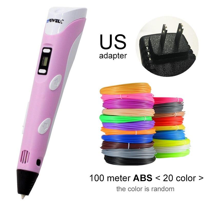 Myriwell, 3D ручка, светодиодный экран, сделай сам, 3D Ручка для печати, 100 м, ABS нити, креативная игрушка, подарок для детей, дизайнерский рисунок - Цвет: Pink US-100m ABS