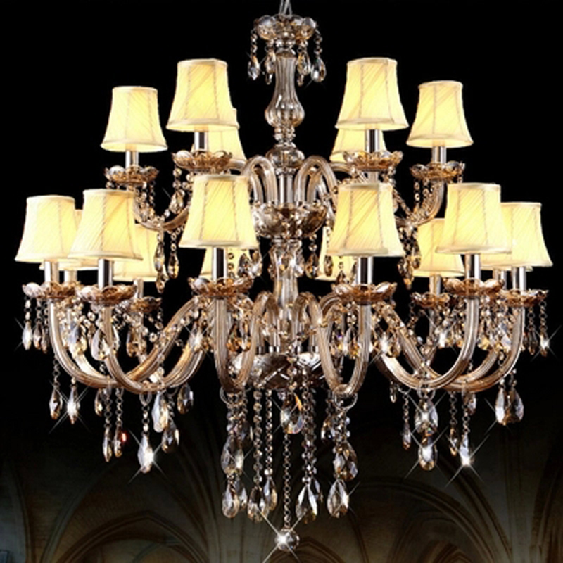 European candle crystal chandelier lighting hotel culb double Cognac color luxury headlights modern led large crystal chandelier