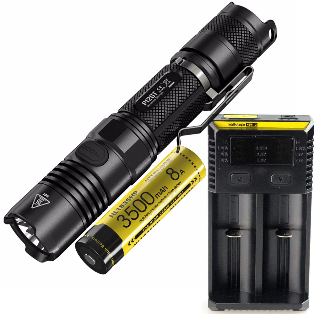 NITECORE P12GT Tactical Flashlight black CREE XP-L HI V3 LED max 1000LM beam distance 320 meter outdoor torch handheld light