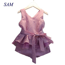 Girls Clothing Set 2018 Summer Sleeveless Plaid Chiffon Vest Belt Top Shorts 2pcs Children Clothes for