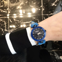 Brand Women Vivid Blue Watches Waterproof Real Fur Leather Wrist watch Multi Cutted Glass Star Crystal Watch Quartz Montre Femme
