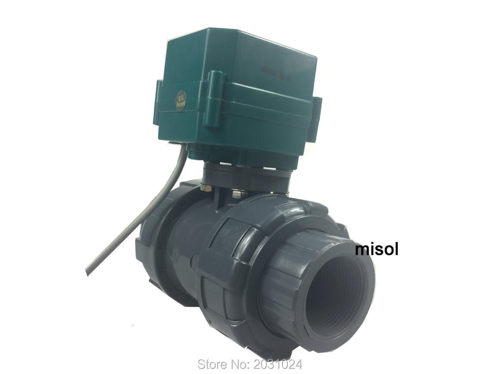 misol motorized pvc valve 12V DN40 BSP 1 5 PVC valve 2 way electrical pvc valve