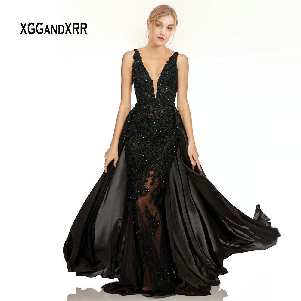 340ab63031a0 Elegant Black Mermaid Lace Evening Dress Long 2019 robe de soiree V Neck  Applique Beading abendkleider