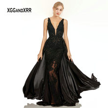 XGGandXRR Elegant Black Mermaid Lace Evening Dress Long