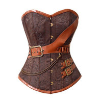 Brown Gothic Vintage Corset Bustier Burlesque Lace up Boned Cosplay Costume Showgirl Top Shirt Plus Size S-6XL Waist Shaper