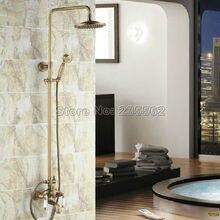 Juego de grifo de ducha de lluvia de montaje en pared de bañera de baño Retro Vintage de latón antiguo Crs024