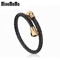 New Trendy 316L Stainles Steel Wire Rope Knot Black Gold Color Bangle Bracelet For Men Exquisite
