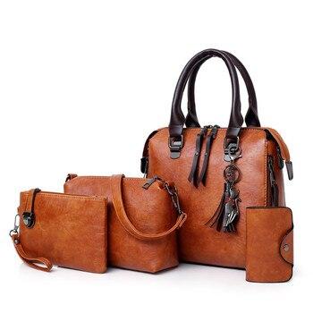Nova 4 pçs/set Alta Qualidade Senhoras Bolsas Femininas PU bolsa de Ombro Mensageiro Sacos Das Mulheres de Couro Composite Sacolas Saco bolsa feminina 1