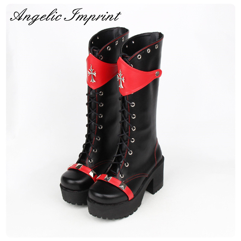 Japanese Harajuku Classic Black and Red Gothic Punk Lolita Cosplay Boots Thick Platform Lace Up Rivet Boots princess sweet lolita gothic lolita shoes custom harajuku platform zipper style 9826 black