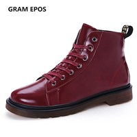 GRAM EPOS Men Autumn Winter Leather Ankle High Top Boot Fashion Casual Male Flats Man Work