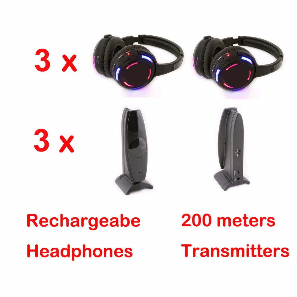 Professional Silent Disco 3 channels 3 LED Headphones with 3  transmitters- RF Wireless For iPod MP3 DJ Music
