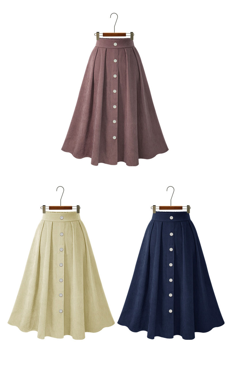 HDY Haoduoyi Pleated Skirts Button High Waist Elastic Mid Skirt Korean Style Women Skirts Fashion New 2018 Autumn Winter Bottom 12