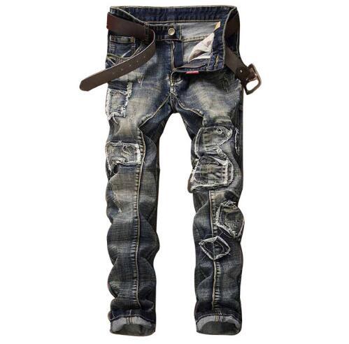 1559 2017 Destroyed jeans Distressed Hip hop jeans men Patchwork Vintage Biker ripped jeans for