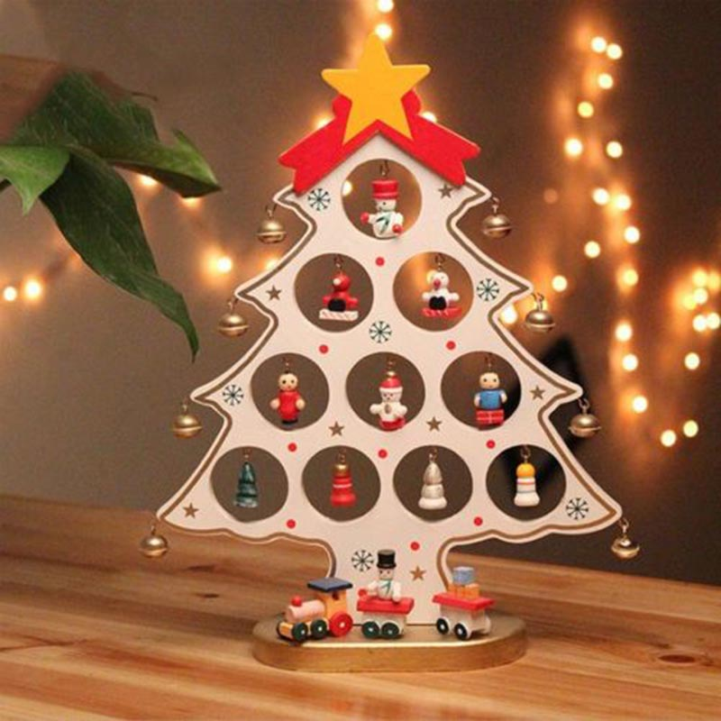 DIY Wooden Christmas Tree Table Desk Ornaments Festival Party Xmas Decor 22*16.5cm E2S
