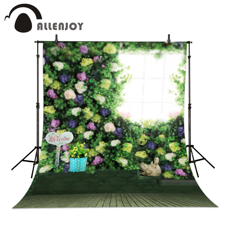 Allenjoy 5ftx7ft Photography backdrop colorful flowers green window wood Background Studio For baby Interior Photos custom size