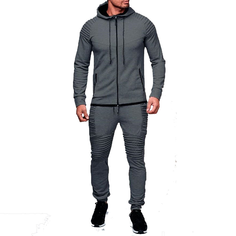 2018 NEW 2 Piece set Mens Sets AUTUMN hooded hoodie Jackets causal black Pants Men's outwear Coats Tracksuits Plus Size Top