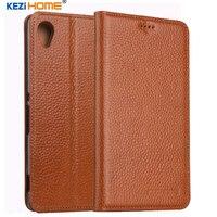 KEZiHOME For Sony Xperia M4 Aqua Case Flip Genuine Leather Soft Silicon Back For Sony Xperia