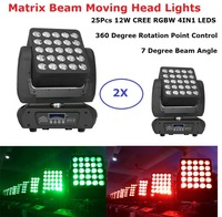2Pcs/Lot Dj Equipments 25X12W LED Matrix Beam Moving Head Lights Wedding Christmas Decoration Projector For Home Party Lights