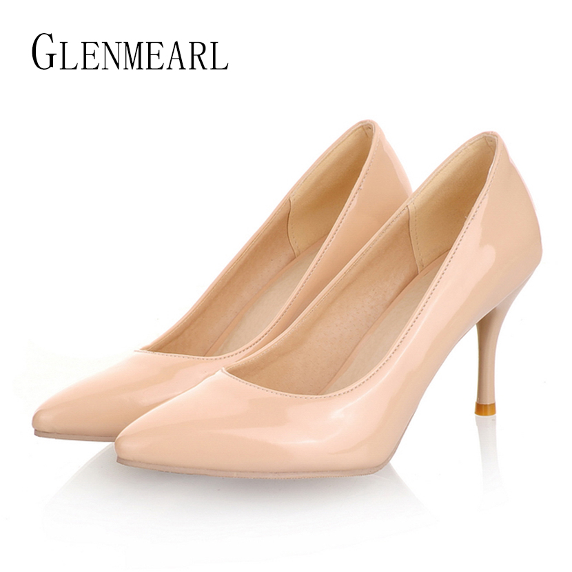 цены 2018 Concise Plus Size Women's Pumps High Heel Shoes Patent Leather Work Pumps For Women Large Size Single Wedding Shoes ZK30