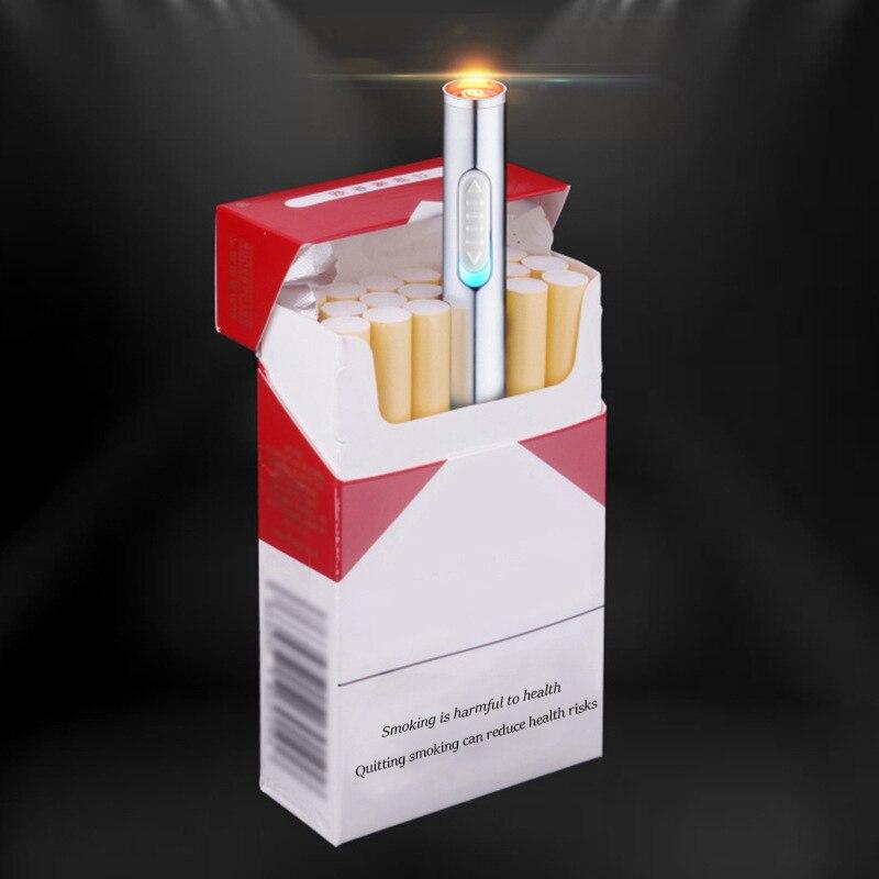 1 unid creativo encendedor de cigarrillo metal forma largo cigarrillo encendedor USB de carga cilíndrico llevar