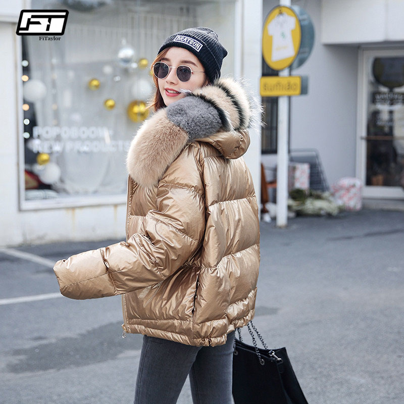Fitaylor Women Double Sided Silver Golden Duck Down Coat Winter Big Real Fur Collar Waterproof Jacket Hooded Snow Outerwear