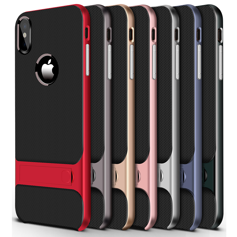 timeless design 526d1 9593a For Apple Iphone XS Max Case TPU Silicon Hybrid + PC Stand Cases For Iphone  X XR XS Max Cover Protective Accessories Capas