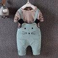 2016 Crianças Conjuntos de Roupas de Moda Outono 2 pcs Define Skirt Suit Padrão Dos Desenhos Animados Do Bebê Das Meninas & meninos Causal Conjuntos de Roupas Shirt + Calças