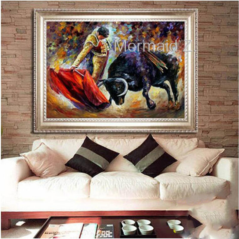 High Skills Artist Hand painted Bullfighter Strong Bull Oil Painting On Canvas Handmade Abstract Painting For Office Decoration