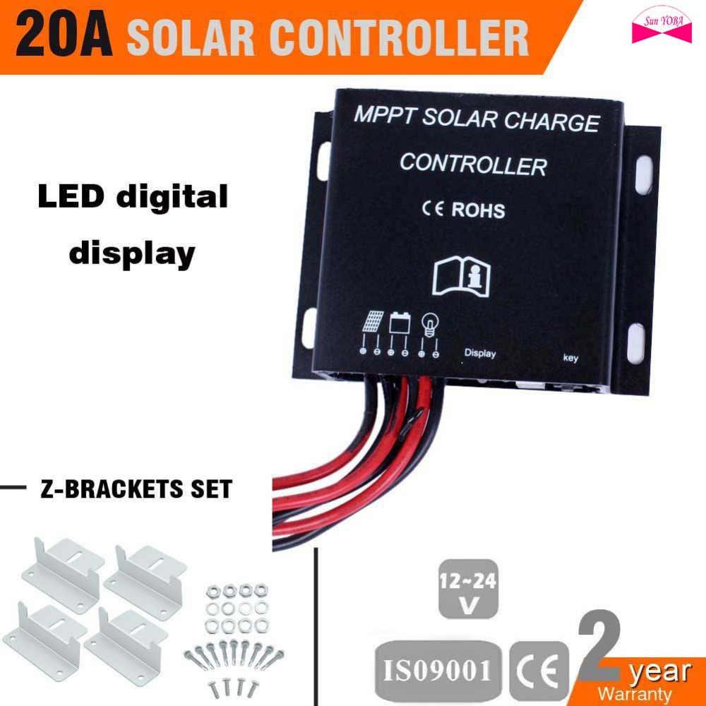 Controlador de carga solar 20A 12 V/24 V MPPT CE certifica el interruptor automático pantalla Digital LED + z- juego de soportes para el sistema de paneles solares A391