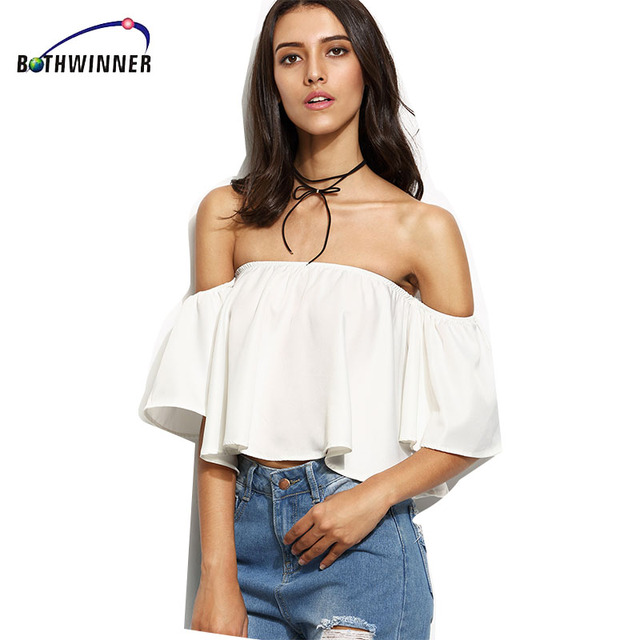27b3afca83cb7 Bothwinner Sexy Off Shoulder White Cropped Tops Summer 2017 Ruffles Girls Crop  Top Women Tube Tops Beach Casual Tees