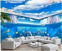 custom mural 3d photo wallpaper Blue sky peach flower ocean world dolphin theme space decor living room wallpaper for wall 3 d custom 3d photo wallpaper sea world theme roman 3d stereoscopic space dolphin home decoration non woven roll