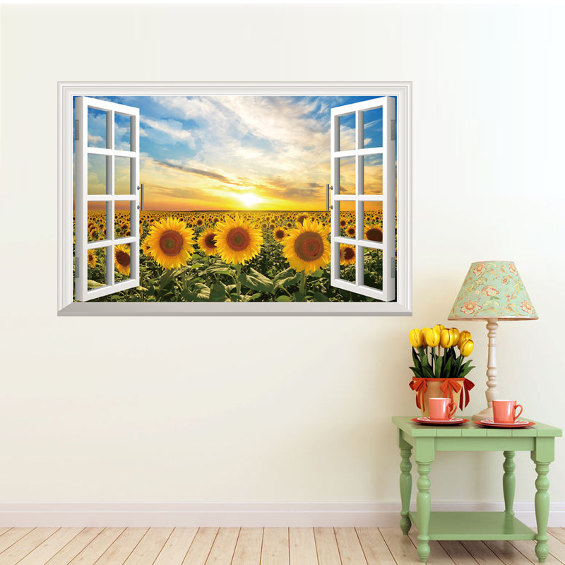 60*90cm New 2016 Sunflowers Sunflowers False Window 3D
