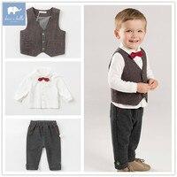 DB8412 dave bella baby long sleeve shirt+vest+pants 3 pcs sets little gentleman clothes children boys boutique clothing sets