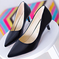 Concise Pointed Toe Women Med Heels Pumps,Comfortable Slip-On Leisure Shoes,Breathable Ladies Office Footwear,Solid Leather Shoe