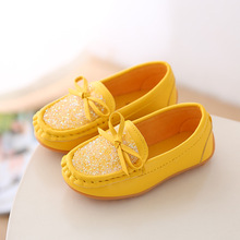 New 2018 Children Spring Baby Little Girls Kids Yellow Leather Shoes For Girls