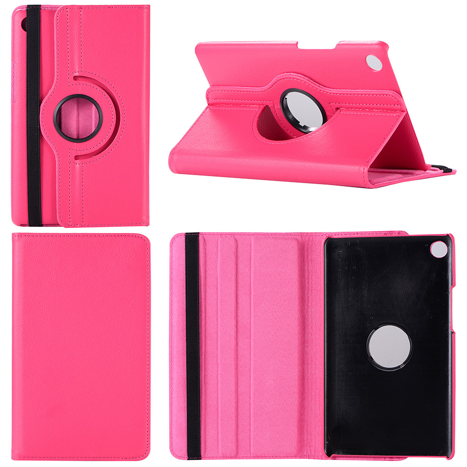 360 Degree Rotating Litchi Flip Stand PU Leather Cover Case For Huawei Mediapad M5 8.4 SHT-AL09 SHT-W09 Tablet Shell +Film + Pen