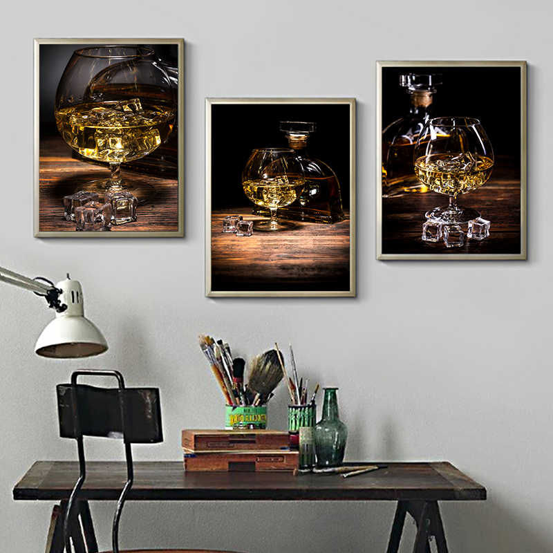 Whiskey Ice Wine Art Print Poster Wall Chic Pictures Unique Canvas Painting Living Room Kitchen Room Home Decorating Background