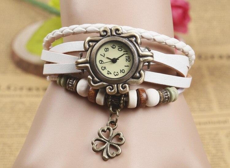 NEW Vintage Ladies Fashion Quartz Watch Women Girls Clover Pendant Hours Bead Bracelet Wrist Watch Clock Hours reloj mujer 8A40 ноутбук hp omen 17 an016ur 2500 мгц dvd±rw