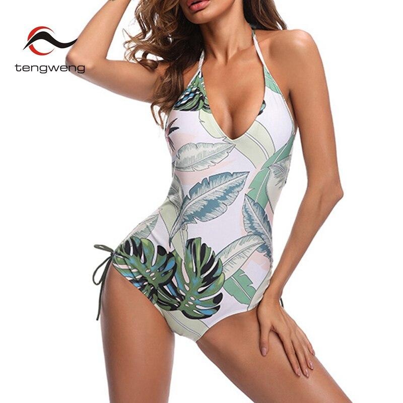 2018 New Sexy Halter One Piece Swimwear Ruffle Push up Swimsuit Women Female Bandage Clear Leaves Print BathingSuit Bikini Beach