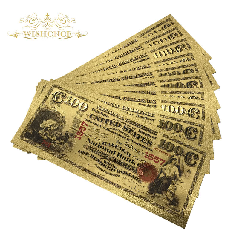 Usd 100 1875 Year Colorful Gold Banknote 24k Gold Foil Bill Note with Stand
