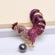 Tyme mar natural perlas broche vestido Gallo 12-13mm grande perla en nombre broche para las mujeres joyería
