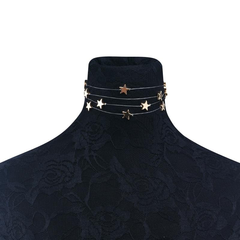 Višestruki slojevi bakra zvijezde privjesak choker ogrlica nakit - Modni nakit - Foto 3