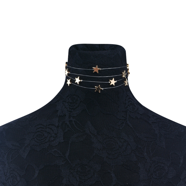 Multiple Layer Stars Choker Necklace 4