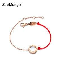 33dea9850d8c ZooMango clásico de acero de titanio Blanco Negro Shell número romano  pulseras del encanto para las mujeres rojo pulsera de cuer.