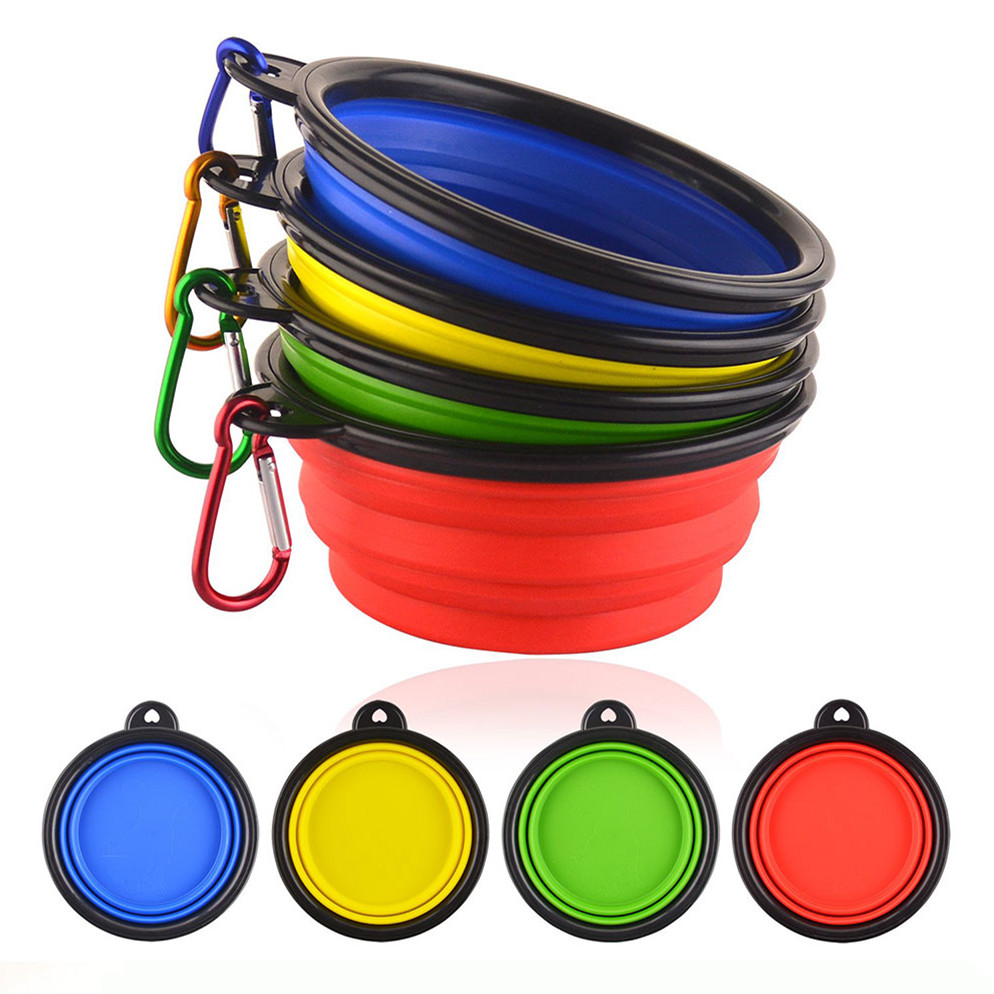 2019 New Dog Bowl Portable Foldable Collapsible Silicone Pet Cat Dog Food Water Feeding Travel Bowl Drop Shipping