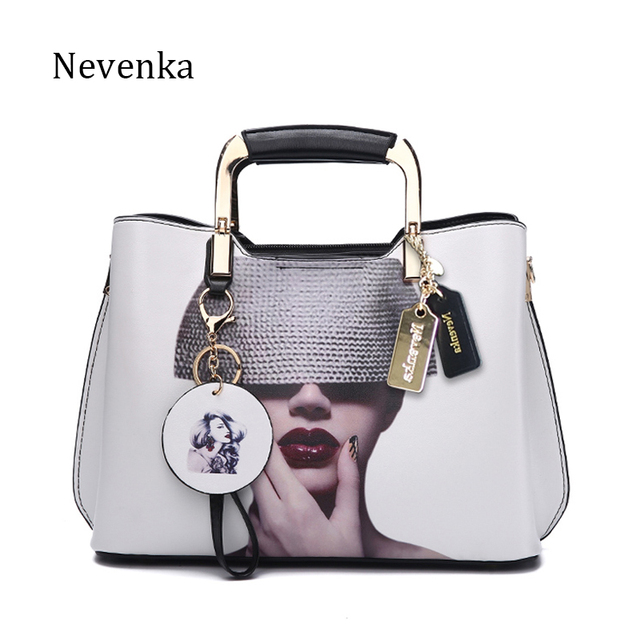 Nevenka Women Handbag Fashion Style Female Painted Shoulder Bags Flower Pattern Messenger Bags Leather Casual Tote