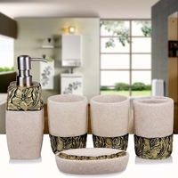 Five piece household items bathroom accessories set resin lotion bottle toothbrush holder soap box bathroom products